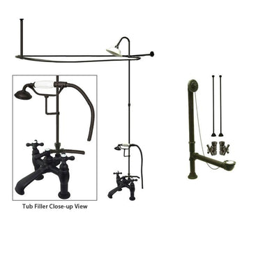 Oil Rubbed Bronze Clawfoot Tub Faucet Shower Kit with Enclosure Curtain Rod 609T5CTS