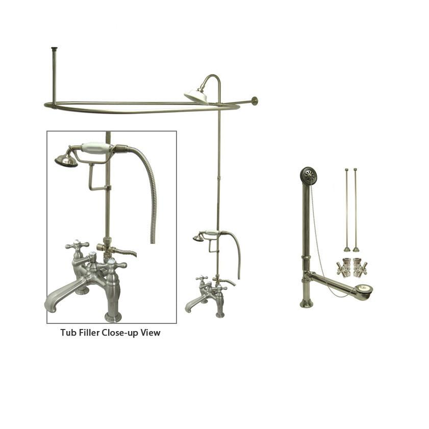 Satin Nickel Clawfoot Tub Faucet Shower Kit with Enclosure Curtain Rod 609T8CTS