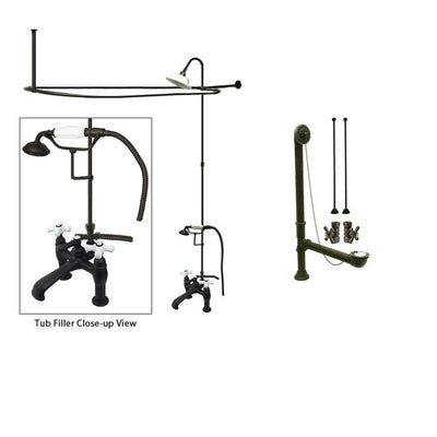 Oil Rubbed Bronze Clawfoot Tub Faucet Shower Kit with Enclosure Curtain Rod 611T5CTS