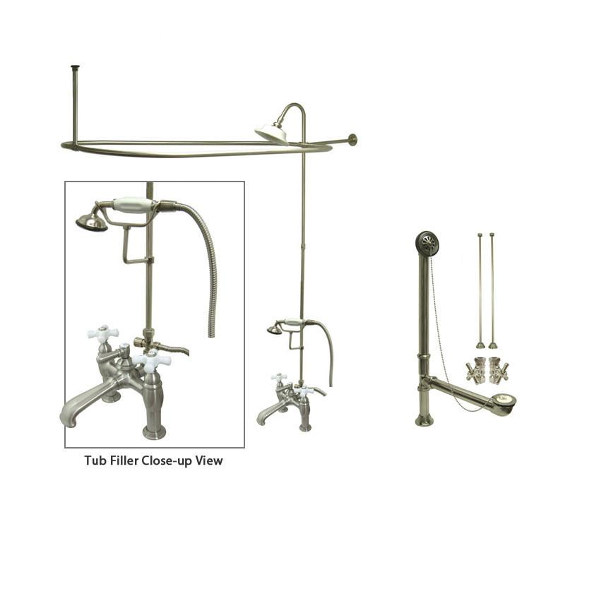 Satin Nickel Clawfoot Bath Tub Shower Faucet Kit with Enclosure Curtain Rod 611T8CTS