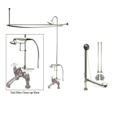 Chrome Clawfoot Tub Faucet Shower Kit with Enclosure Curtain Rod 612T1CTS