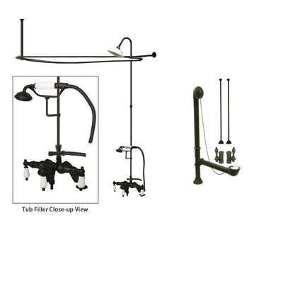 Oil Rubbed Bronze Clawfoot Tub Faucet Shower Kit with Enclosure Curtain Rod 621T5CTS