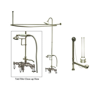 Satin Nickel Clawfoot Tub Faucet Shower Kit with Enclosure Curtain Rod 621T8CTS