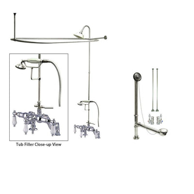 Chrome Clawfoot Tub Faucet Shower Kit with Enclosure Curtain Rod 622T1CTS