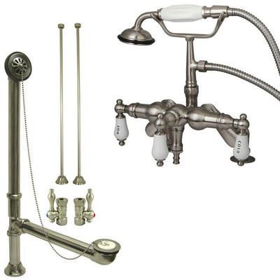 Satin Nickel Deck Mount Clawfoot Tub Filler Faucet w Hand Shower Package CC623T8system