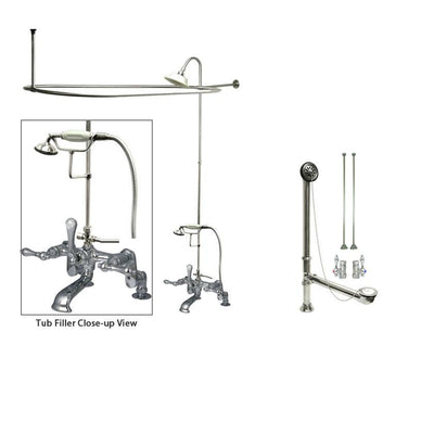 Chrome Clawfoot Tub Faucet Shower Kit with Enclosure Curtain Rod 652T1CTS