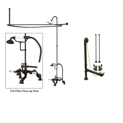 Oil Rubbed Bronze Clawfoot Tub Faucet Shower Kit with Enclosure Curtain Rod 653T5CTS