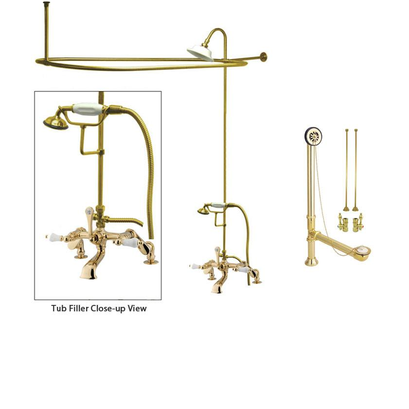 Polished Brass Clawfoot Tub Faucet Shower Kit with Enclosure Curtain Rod 655T2CTS