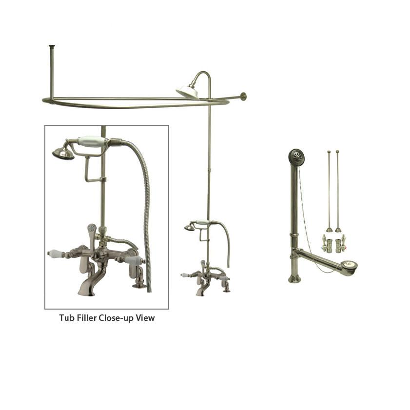 Satin Nickel Clawfoot Tub Faucet Shower Kit with Enclosure Curtain Rod 655T8CTS