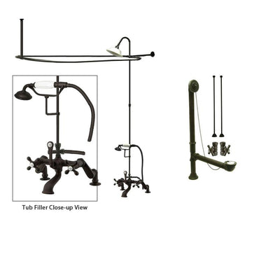 Oil Rubbed Bronze Clawfoot Tub Faucet Shower Kit with Enclosure Curtain Rod 657T5CTS