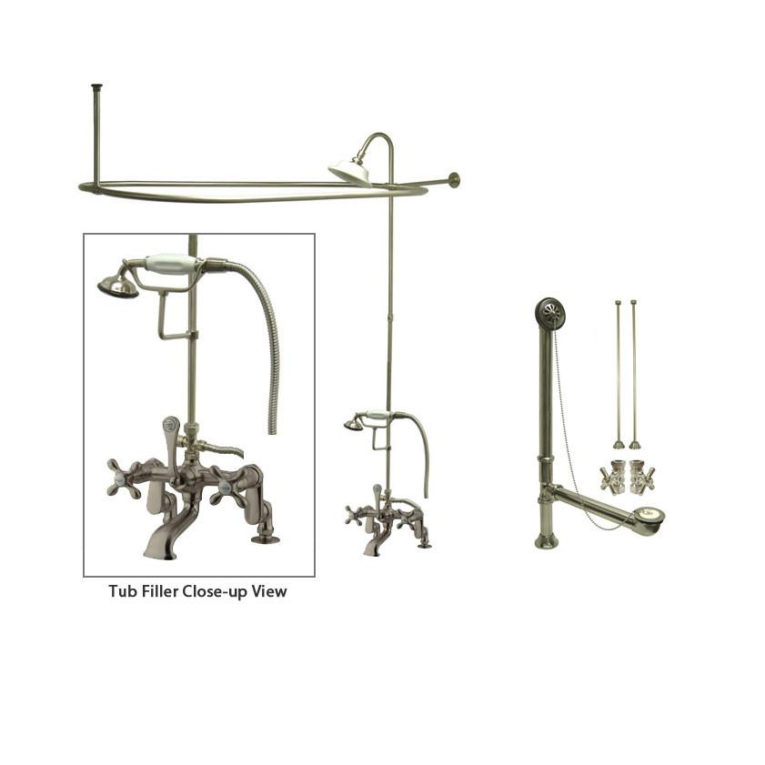 Satin Nickel Clawfoot Tub Faucet Shower Kit with Enclosure Curtain Rod 657T8CTS