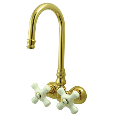 Kingston Brass Polished Brass Wall Mount Clawfoot Tub Filler Faucet CC79T2
