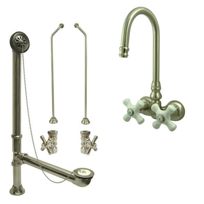 Satin Nickel Wall Mount Clawfoot Bathtub Faucet Package Supply Lines & Drain CC79T8system