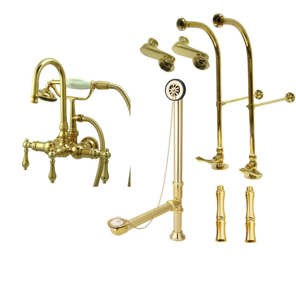 Freestanding Floor Mount Polished Brass Metal Lever Handle Clawfoot Tub Filler Faucet with Hand Shower Package 7T2FSP