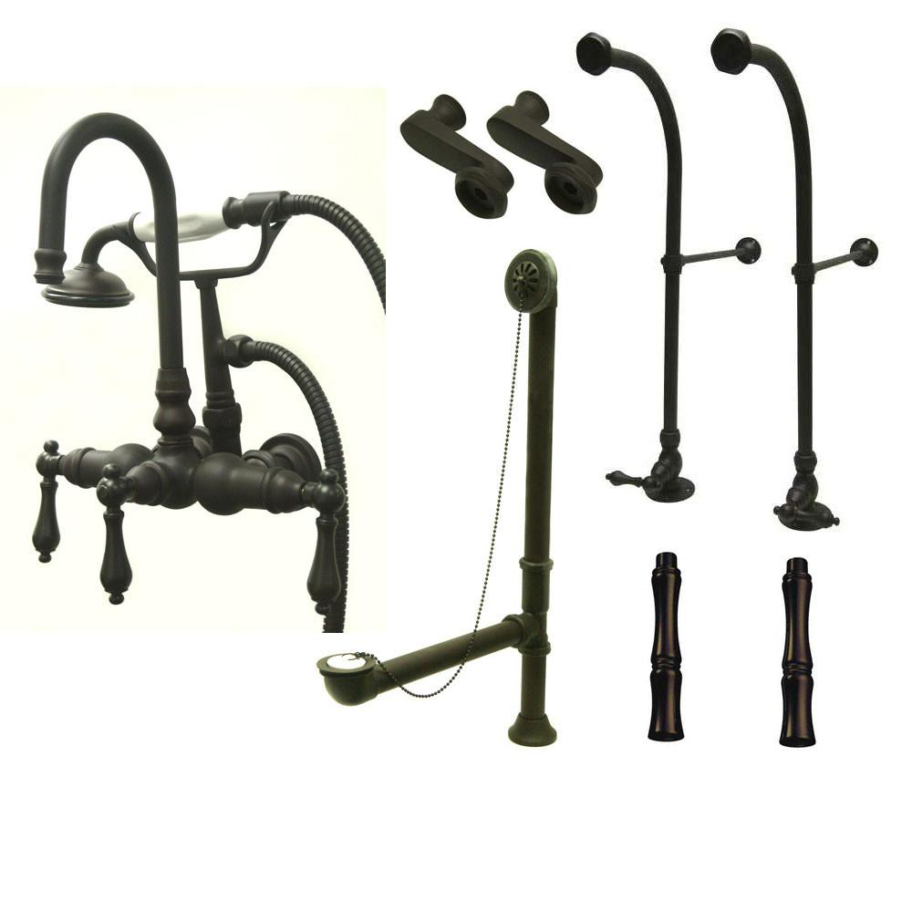 Freestanding Floor Mount Oil Rubbed Bronze Metal Lever Handle Clawfoot Tub Filler Faucet with Hand Shower Package 7T5FSP