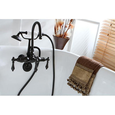 Kingston Oil Rubbed Bronze Wall Mount Clawfoot Tub Faucet with Hand Shower CC7T5
