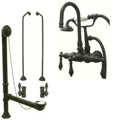 Oil Rubbed Bronze Wall Mount Clawfoot Bathtub Faucet w Hand Shower Package CC7T5system