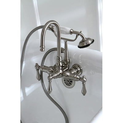 Kingston Satin Nickel Wall Mount Clawfoot Tub Faucet with Hand Shower CC7T8