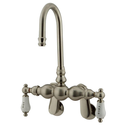 Kingston Brass Satin Nickel Wall Mount Clawfoot Tub Filler Faucet CC85T8