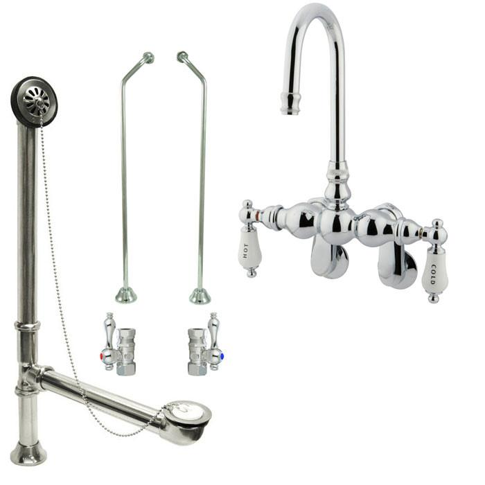 Chrome Wall Mount Clawfoot Bathtub Faucet Package Supply Lines & Drain CC86T1system
