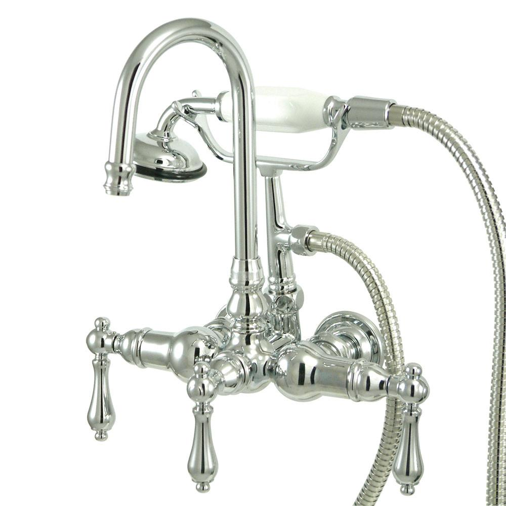 Kingston Chrome Wall Mount Clawfoot Tub Filler Faucet with Hand Shower CC8T1