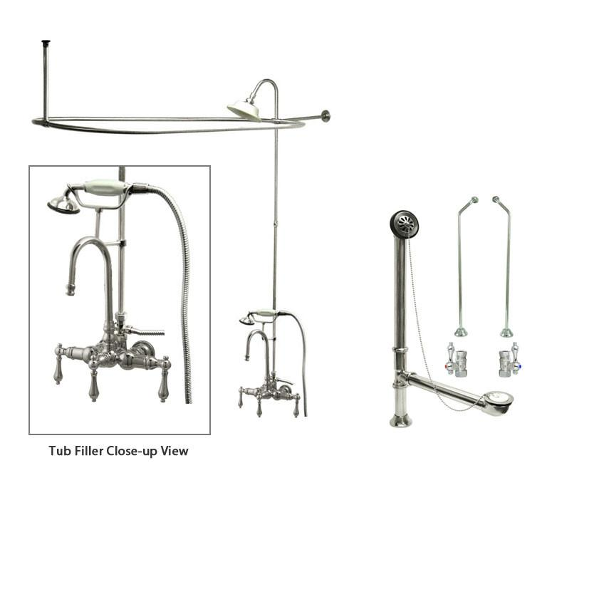 Chrome Clawfoot Tub Faucet Shower Kit with Enclosure Curtain Rod 8T1CTS