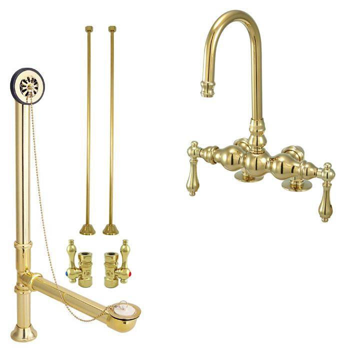 Polished Brass Deck Mount Clawfoot Tub Faucet Package Supply Lines U0026 Drain  CC91T2system