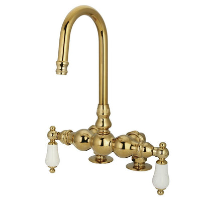 Kingston Brass Polished Brass Deck Mount Clawfoot Tub Filler Faucet CC93T2