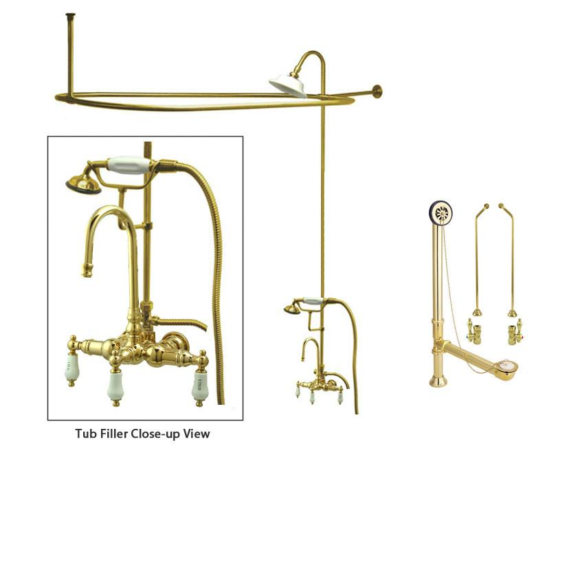 Polished Brass Clawfoot Tub Faucet Shower Kit with Enclosure Curtain Rod 9T2CTS