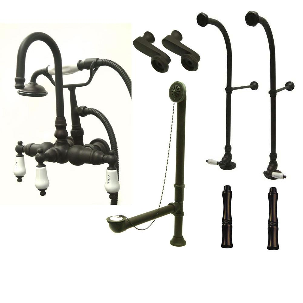 Freestanding Floor Mount Oil Rubbed Bronze Hot/Cold Porcelain Lever Handle Clawfoot Tub Filler Faucet with Hand Shower Package 9T5FSP