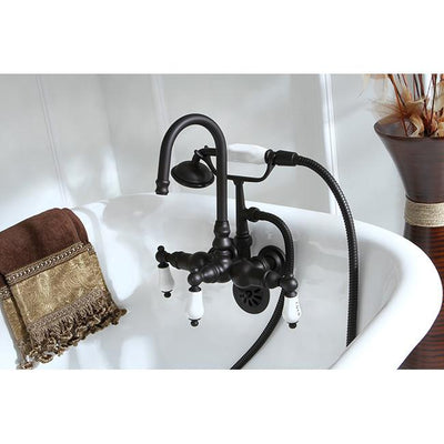 Kingston Oil Rubbed Bronze Wall Mount Clawfoot Tub Faucet w Hand Shower CC9T5