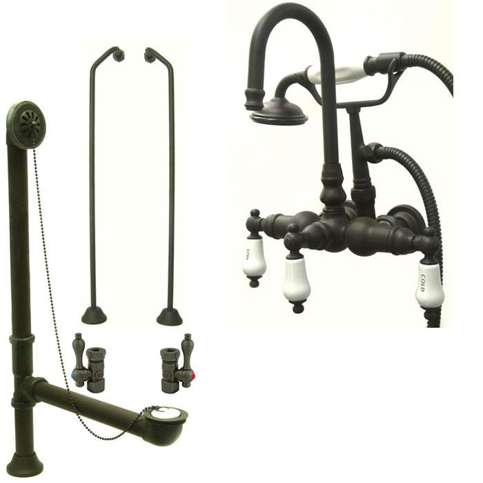 Oil Rubbed Bronze Wall Mount Clawfoot Bathtub Faucet w Hand Shower Package CC9T5system