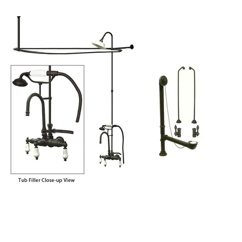 Oil Rubbed Bronze Clawfoot Bathtub Faucet Shower Kit with Enclosure Curtain Rod 9T5CTS