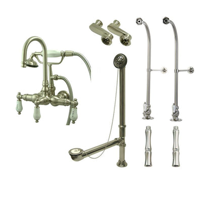Freestanding Floor Mount Satin Nickel Hot/Cold Porcelain Lever Handle Clawfoot Tub Filler Faucet with Hand Shower Package 9T8FSP