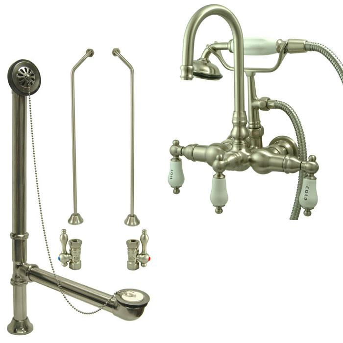 Satin Nickel Wall Mount Clawfoot Bathtub Filler Faucet w Hand Shower Package CC9T8system