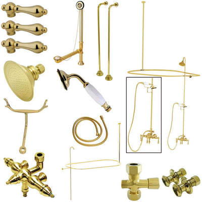 Kingston Polished Brass Clawfoot Tub Faucet Package with Supply Lines CCK3142AL