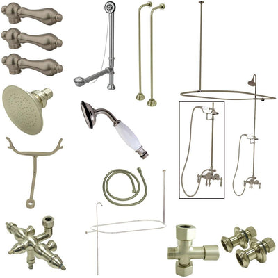 Kingston Satin Nickel Clawfoot Tub Faucet Package with Supply Lines CCK3148AL