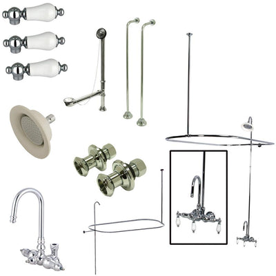 Kingston Chrome Clawfoot Tub Faucet Package with High Rise Goose Neck CCK4141PL