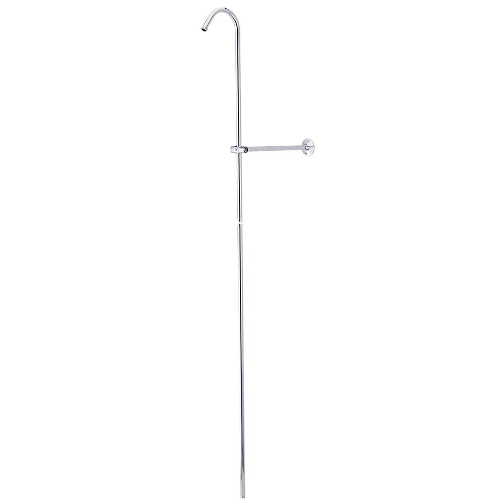 Kingston Brass Chrome Shower Riser And Wall Support for Clawfoot Tub Faucet