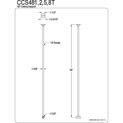 "Kingston Brass 48"" Chrome Finish Extra Ceiling or Wall Support for Shower Curtain Enclosure Ring, can be cut to size"
