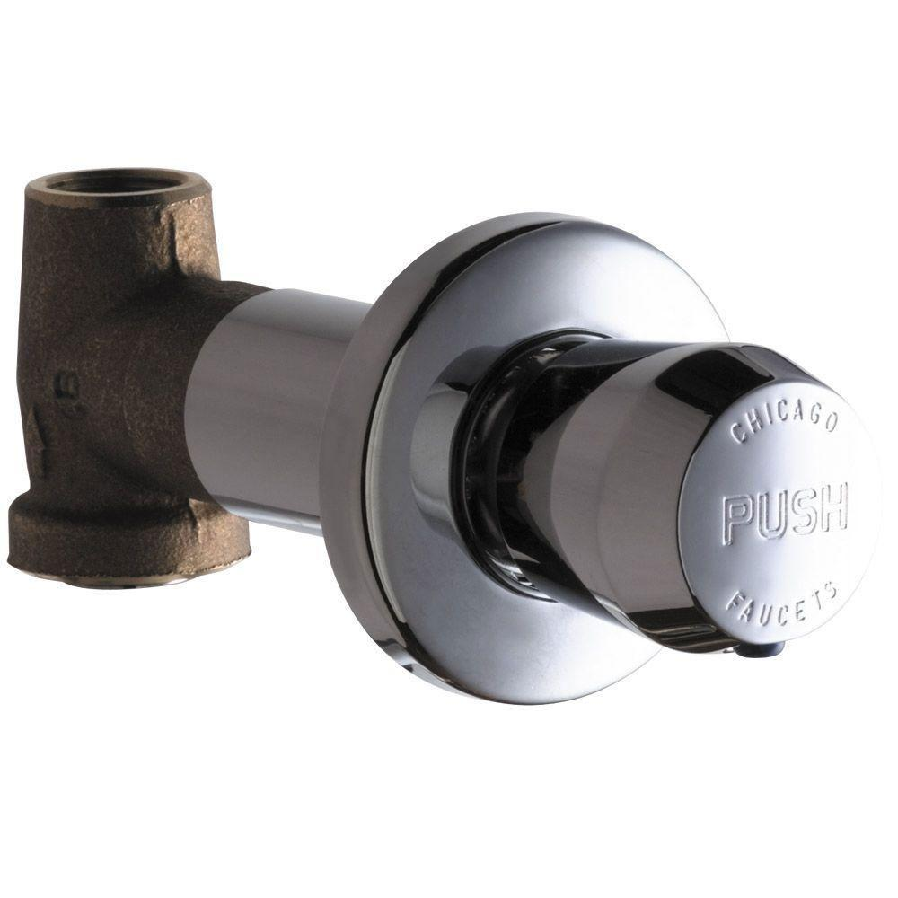 Chicago Faucets Concealed Straight Valve with MVP Metering Push Handle 461617