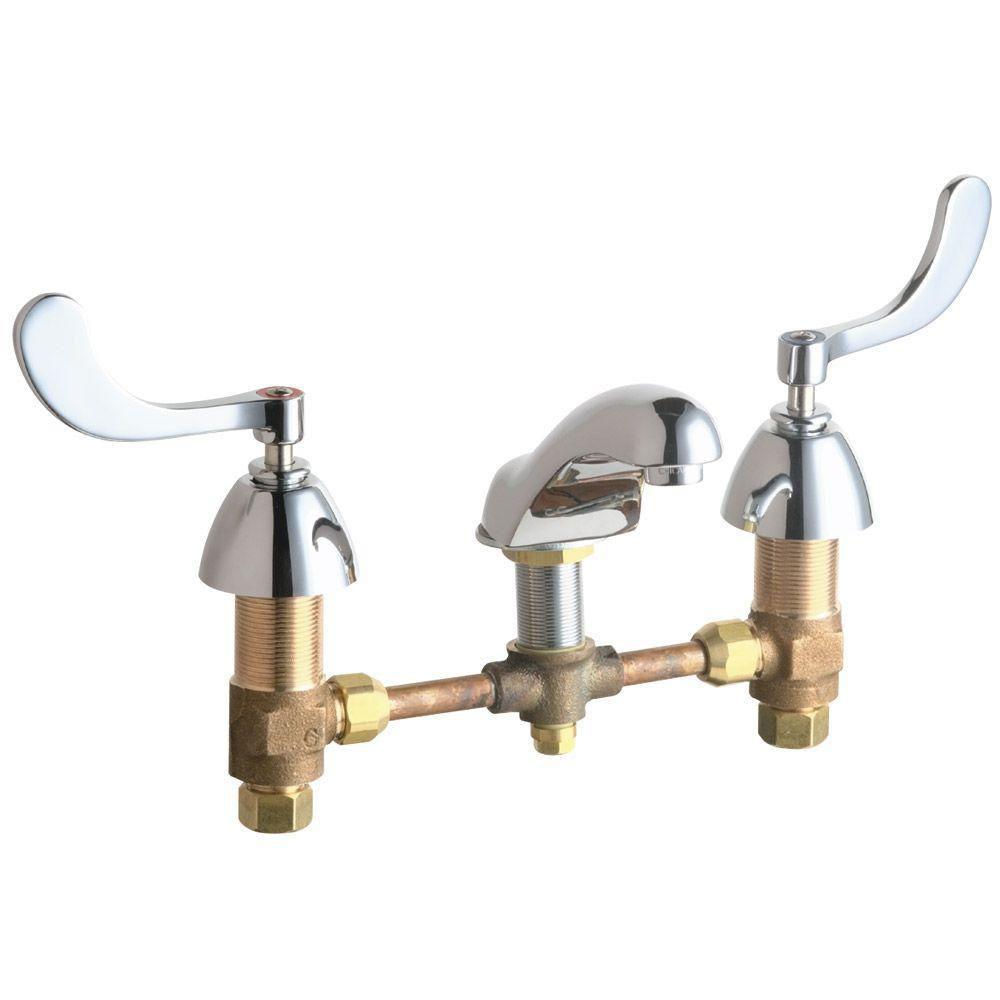 Chicago Faucets 8 inch Widespread 2 Handle Low Arc Bathroom Faucet