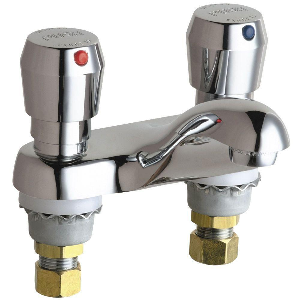 Chicago Faucets Hot and Cold Water Vandal Proof MVP Metering Sink Faucet in Chrome 462767