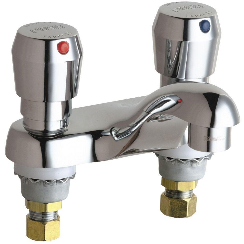 Chicago Faucets 4 inch Centerset 2-Handle Low Arc Bathroom Faucet in Chrome with Metering Push Button Handles 462770