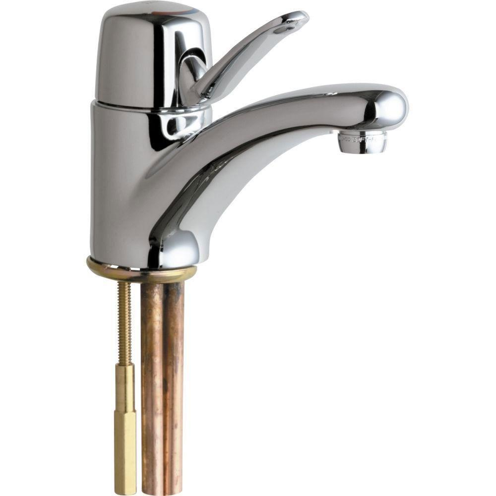 Chicago Faucets Single Hole 1-Handle Low Arc Bathroom Faucet in Chrome with 4-3/4 inch Integral Cast Brass Spout 479974