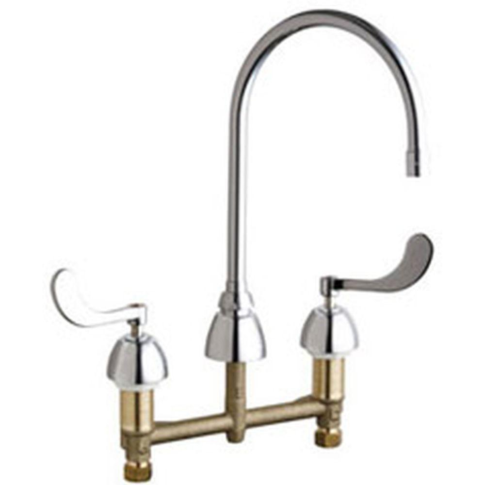 Chicago Faucets 8 inch Widespread 2-Handle High Arc Bathroom Faucet in Chrome with 8 inch Rigid/Swing Gooseneck Spout 638004