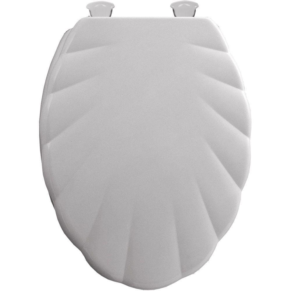 Bemis Sculptured Shell Lift-Off Elongated Closed Front Toilet Seat in White 26056