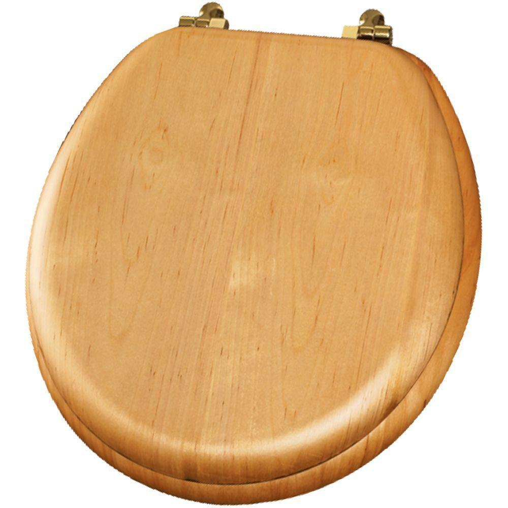Bemis Natural Reflections Round Closed Front Toilet Seat in Natural Oak 480856