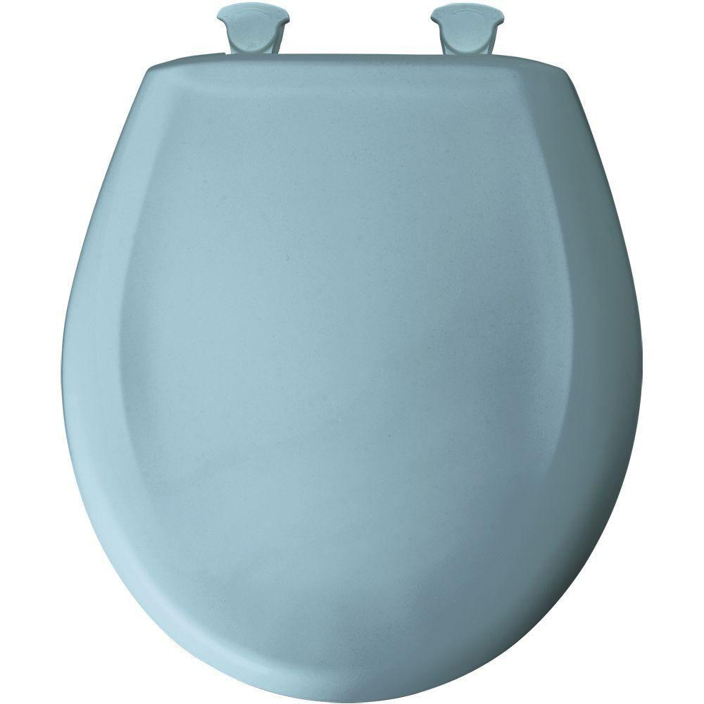 Bemis Slow Close STA-TITE Round Closed Front Toilet Seat in Twilight Blue 480872