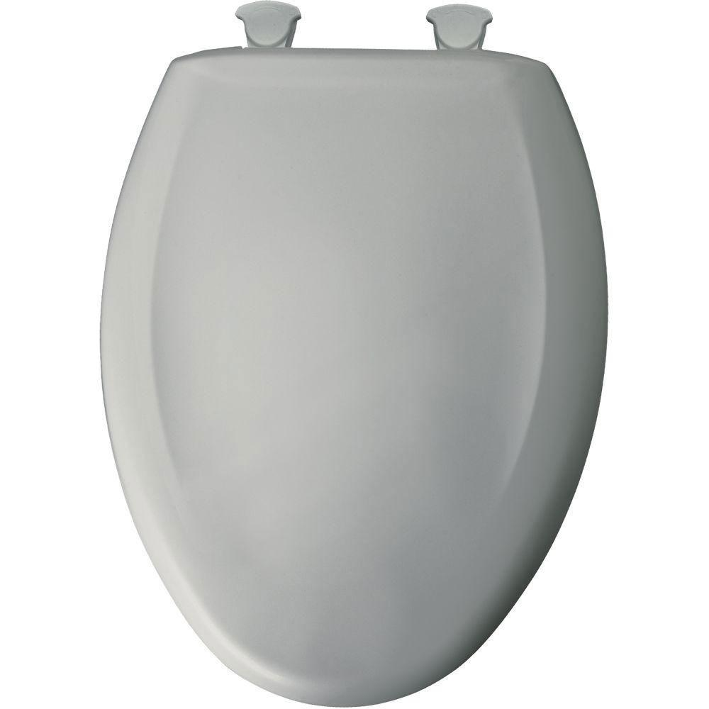 Bemis Slow Close STA-TITE Elongated Closed Front Toilet Seat in Ice Gray 496447